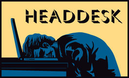 Headdesk! Stressed businessman banging head against desk  Royalty Free Stock Photo