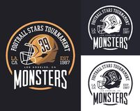 Helmet for american football sign for sport club. Headdress for american football sport, helmet with face mask for t-shirt print, cap of los angeles monsters vector illustration