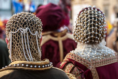 The headdress of aristocrat Renaissance woman. A typical aristocrat woman Renaissance headdress, during historical reenactment in Florence stock image