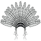 Headdress in Aztec style symbolizing Native American people in black and white in drawing style with decorative feathers, beads an Stock Images
