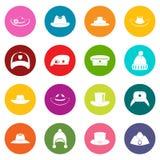 Headdress hat icons many colors set Stock Photo