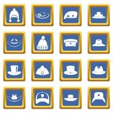 Headdress hat icons set blue. Headdress hat icons set in blue color isolated vector illustration for web and any design vector illustration