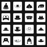 Headdress hat icons set squares vector Stock Photo