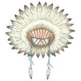 Headdress of indian chief. Illustration of headdress of indian chief.Painting of watercolor Royalty Free Stock Photo