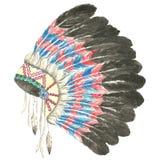Headdress of indian chief. Illustration of headdress of indian chief.Painting of watercolor Stock Photos