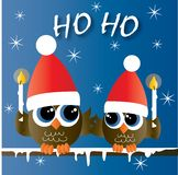 Merry christmas happy holidays two cute owls stock illustration