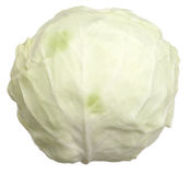 Headed cabbage. Head of cabbage on the white background, isolated, a close up Stock Images