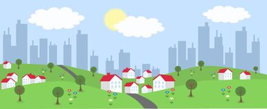 Header. Illustration of a landscape with houses with skyscrapers in the background Royalty Free Stock Photos