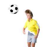 Header. Full isolated picture of a  caucasian woman playing soccer Stock Images