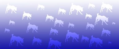 Header Background Pet Dogs Pattern on Blue Gradient Background. For websites, web pages, banners , posters , presentations, flyers, cards , signboards stock illustration