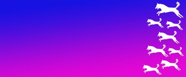 Header Background Pet Dogs Pattern on Blue Magenta Gradient Background. For websites, web pages, banners , posters , presentations, flyers, cards , signboards royalty free illustration