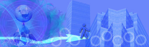 Header / banner business and world wide success. This header / banner is blue tones shows skyscrapers (symbols for success in business) a globe and a crystal Royalty Free Stock Images