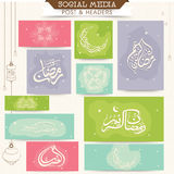 Header, banner or cards for Ramadan Kareem celebration. Social media header, banner or cards decorated with various Arabic Islamic calligraphy of text Ramadan
