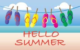 Summer flipflops vacation beach header or banner Royalty Free Stock Photos