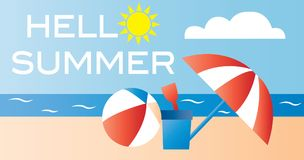 Hello summer vacation beach header Royalty Free Stock Photography