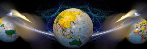 Header / banner:International connections. This header/ banner has a fractal 3d design and it is designed to give the feeling of space. The globes and connecting Royalty Free Stock Image