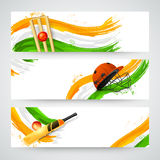 Header or banner set for Cricket. Royalty Free Stock Photo