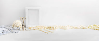 Header, banner for site design. Needlework, handmade. knitting and crocheting, yarn. Horizontal format, space for text Royalty Free Stock Image