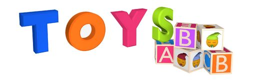 Header / Banner with Toys as lettering as well as ABC cubes. And cubes with emoticon. 3d illustration Stock Images