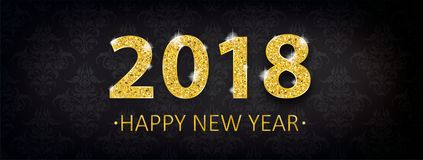 Header Black Wallpaper Ornaments 2018 New Year. Header with golden text 2018 Happy New Year on the black background with ornaments royalty free illustration