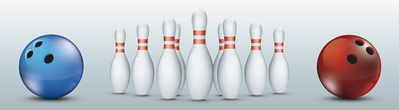 Header Blue Red Bowling Balls Pins Centre. Blue and red bowling balls and pins the gray background Royalty Free Stock Photography