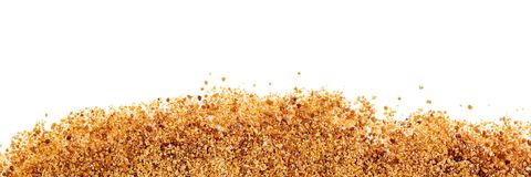 Header, coconut palm sugar on white background, alternative swee. Header, coconut palm sugar on white background with copyspace Royalty Free Stock Photography