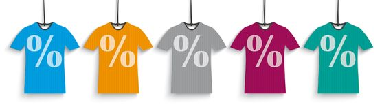 5 Colored Discount T-Shirts Header. Header with 5 colored t-shirt price stickers with percents on the white background Stock Photo