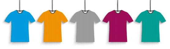 5 Colored T-Shirts Header. Header with 5 colored t-shirt price stickers on the white background Royalty Free Stock Images