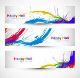 Header colorful set grunge dirty of holi festival Stock Photography