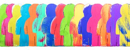 Header, colorful wooden figures in a line, concept community and. Crowd Royalty Free Stock Photo