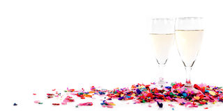 Header with confetti and champagne glasses Royalty Free Stock Images