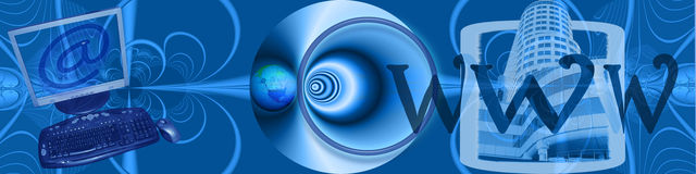 Header: E-commerce and world wide connections. This banner / header has a creative abstract design in different blue tones. The globe, frame with the skyscraper Stock Photos