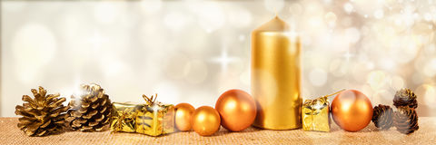 Header with golden christmas decoration Stock Photos