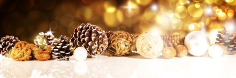 Header with golden christmas decoration Stock Image