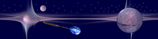 Header Hit your targets. This banner / header shows planets and our earth floating in space. The arrow is on its way to hit a target Royalty Free Stock Photo