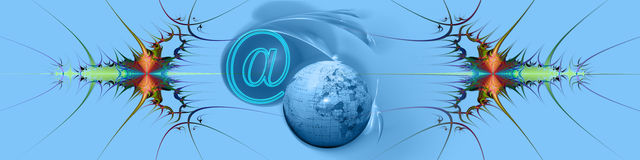 Header: Internet and  world wide connections. This blue banner / header has a creative abstract design in different colors. The globe and @ refer to internet and Stock Image