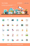 Header with modern flat design hobby icons and. Header with vector modern flat design hobby icons and infographics elements set for your website illustration Stock Photos