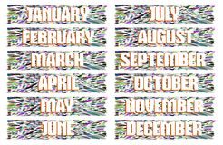 Header with the names of the months isolated Royalty Free Stock Image