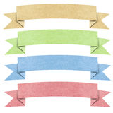 Header origami tag recycled paper craft. Stick on white background Royalty Free Stock Photo