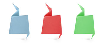 Header origami tag recycled paper craft stick. On white background Royalty Free Stock Photography