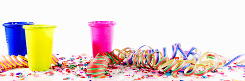 Header with party decoration. In front of white background Royalty Free Stock Photography