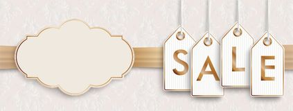 Header Noble Golden Emblem Ribbon Ornaments Price Stickers Sale. Header with price stickers on the classic wallpaper with ribbon and emblem vector illustration