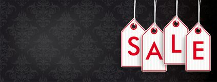 Header Black Wallpaper Ornaments Price Stickers Sale. Header with red price stickers on the black background with ornaments Stock Image