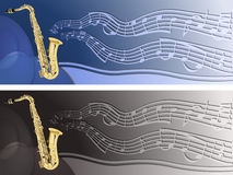 Header with saxophone Stock Photo