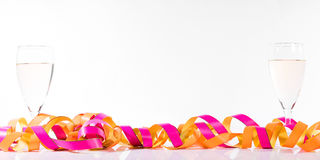 Header with streamers and champagne glasses Stock Image