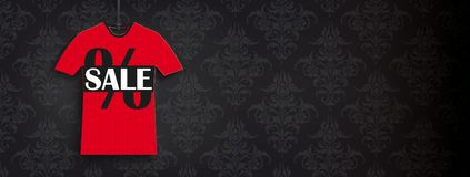 Red T-Shirt Sale Price Sticker Black Ornaments Header. Header with t-shirt price stickers on the black background with ornaments Stock Image