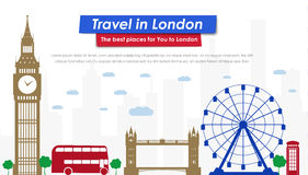 Header Template London scenery. Header Template London buildings and landmarks. Banner Design for tourism and Journey. Vector illustration. Flat style Royalty Free Stock Images