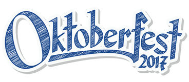 Header with text Oktoberfest 2017. Blue and white header with scribble pattern and text Oktoberfest 2017 Stock Photo