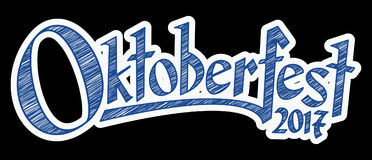 Header with text Oktoberfest 2017. Blue and white header with scribble pattern and text Oktoberfest 2017 Stock Photos