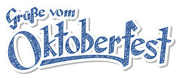 Header with text Oktoberfest 2016. Blue and white header with scribble pattern and text greetings from Oktoberfest 2016 (in german Stock Images